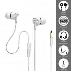 Boat BassHeads 100(White) In-Ear Headphones with Mic